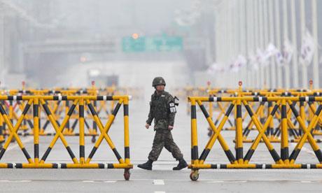 South Korean soldier at border.