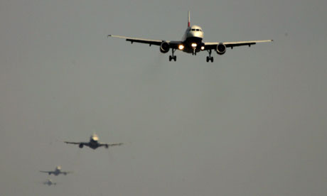 Planes queue to take take their turn to land at Heathrow airport