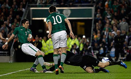 Ireland's Stephen Ward scores against Estonia