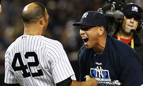 Mariano Rivera, left, and Alex Rodriguez celebrate after the Yankees win game six of the ALCS.