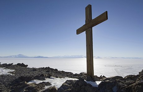 Cross on Observation Hill, Ross Island, Antarctica