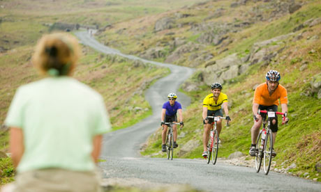 Cyclists descending Wrynose Pass in the Lake District