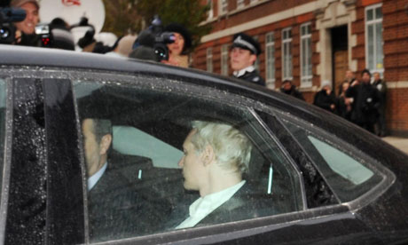 Julian Assange is driven into Westminster Magistrates Court