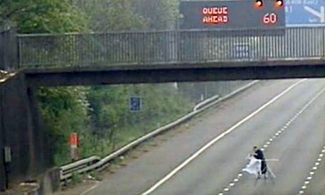 A man irons on the closed northbound carriageway of the M1