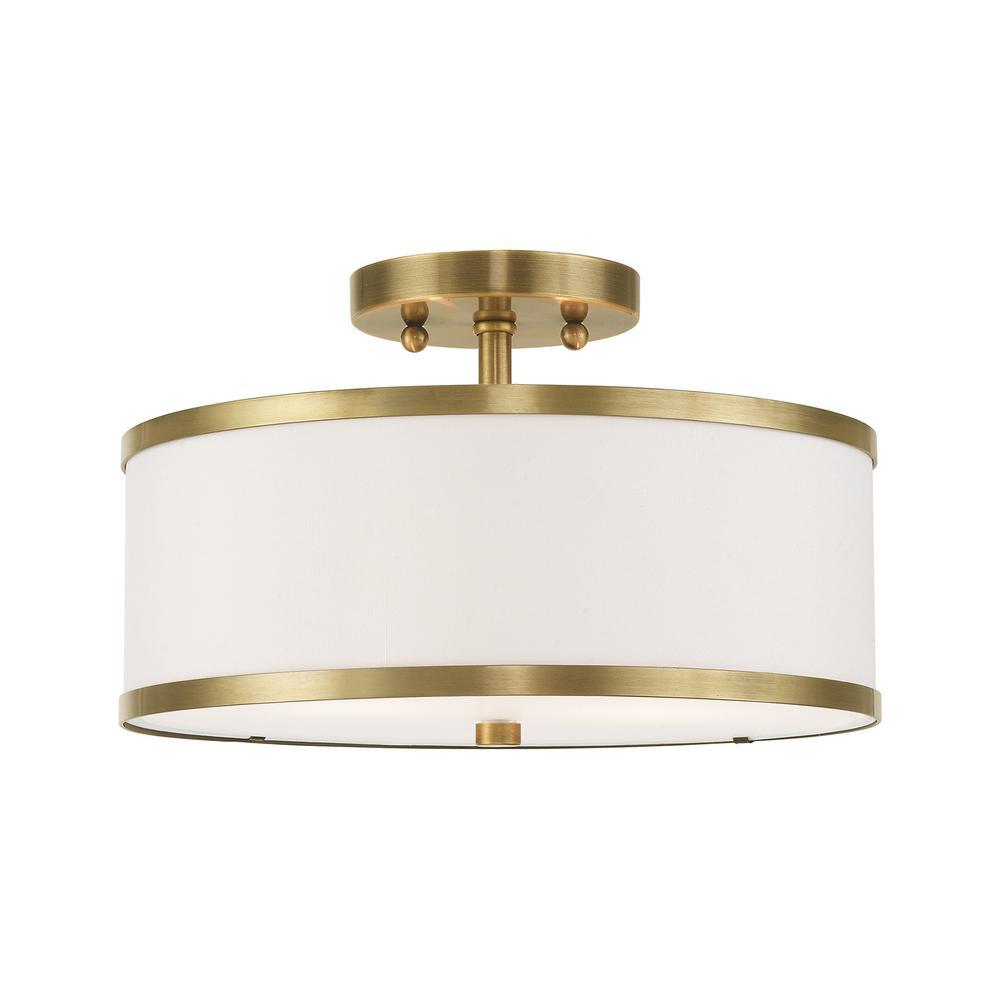 livex lighting park ridge 13 in 2 light antique brass semi flush mount light