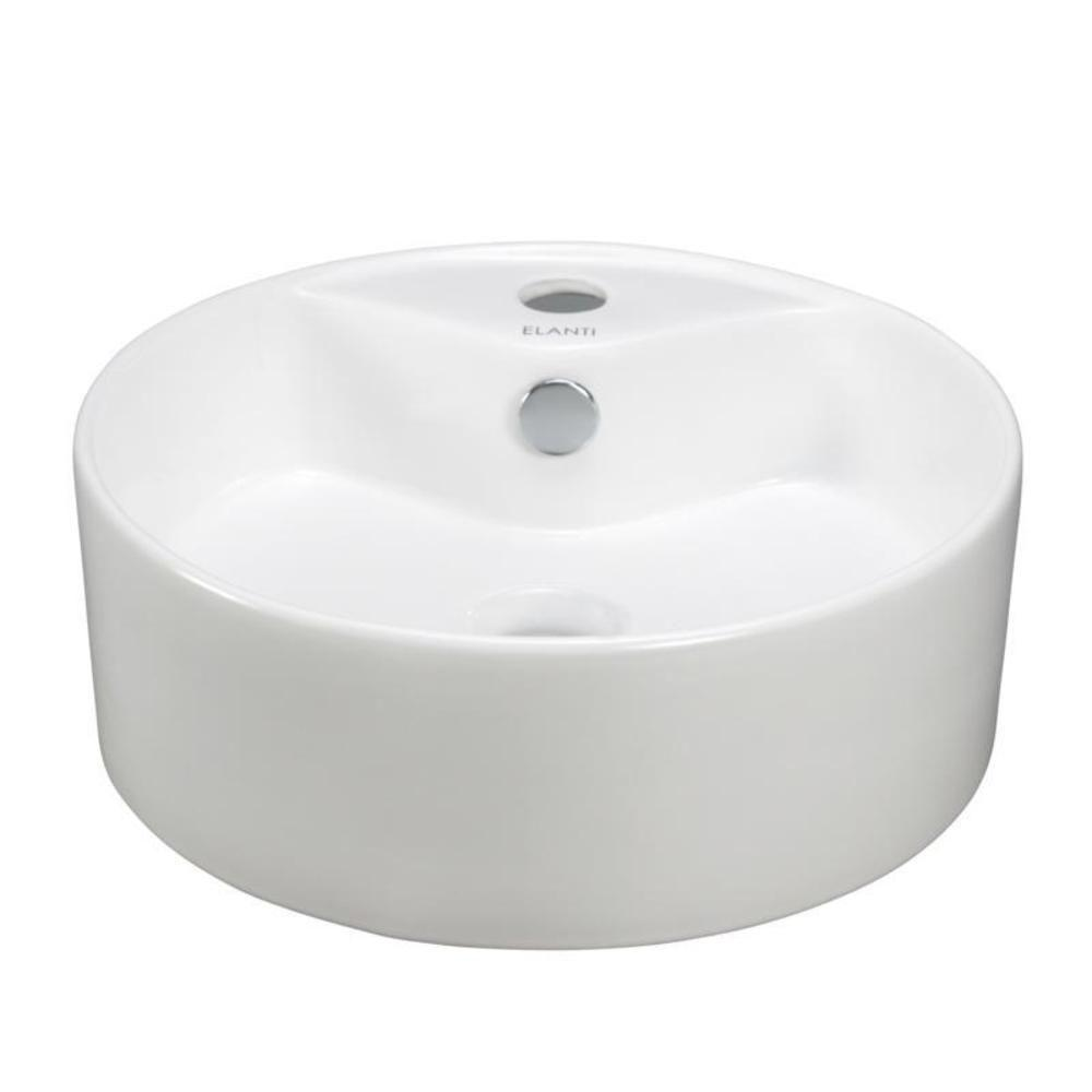elanti vessel above counter round bowl bathroom sink in white