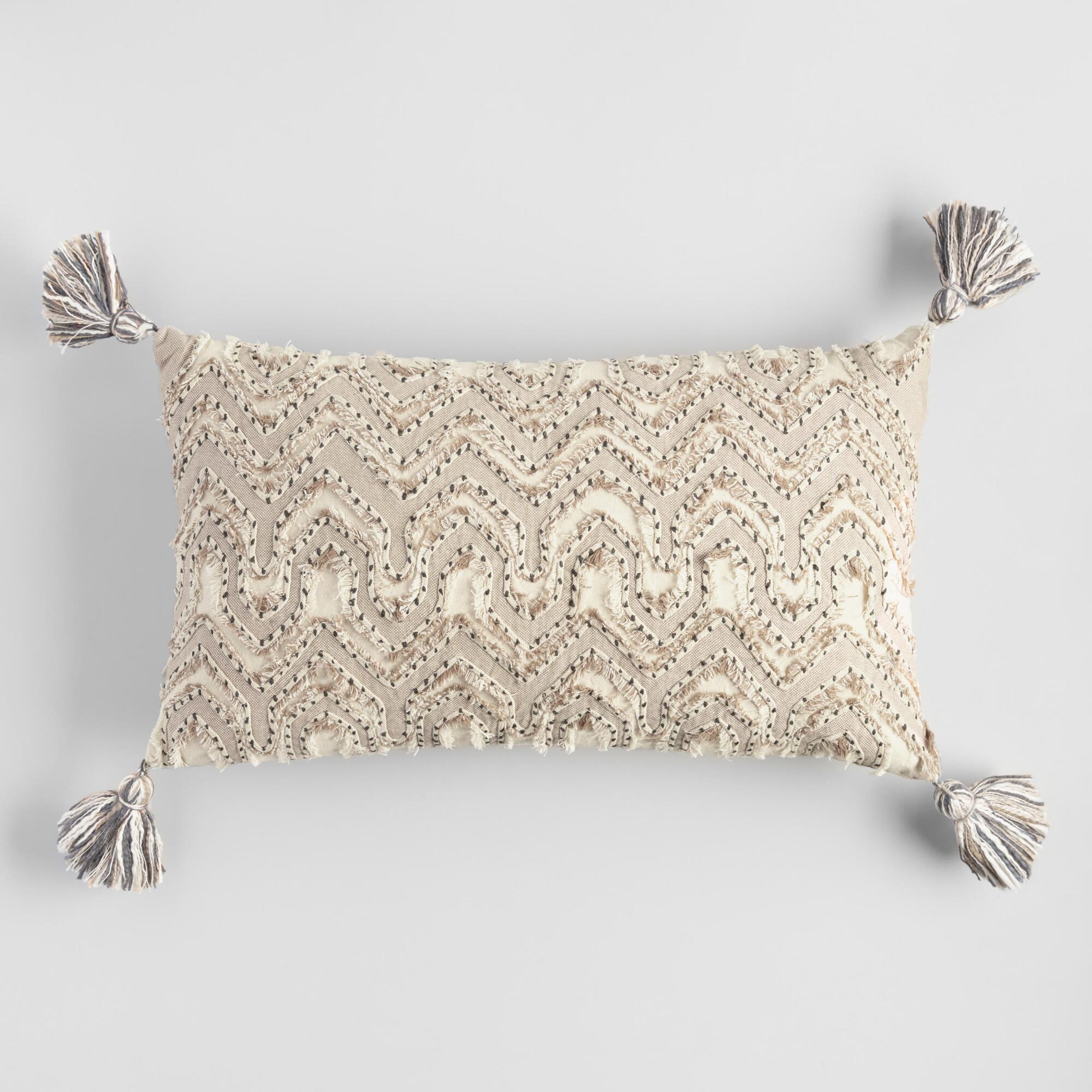oversized ivory embroidered tyler lumbar pillow by world market world market cost plus