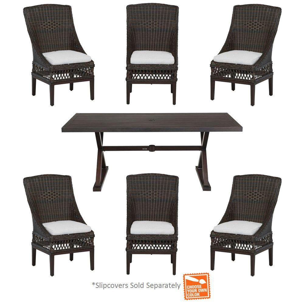 hampton bay woodbury 7 piece wicker outdoor patio dining set with cushions included choose your own color