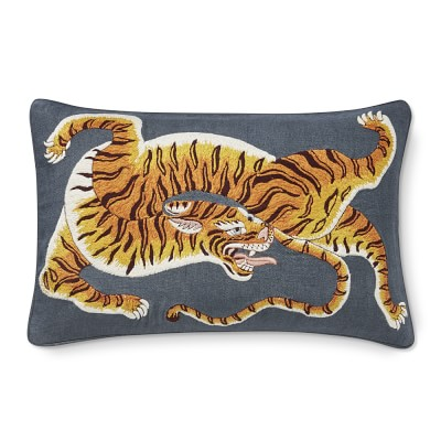 dharma tiger embroidered lumbar pillow cover 14 x 22 grey