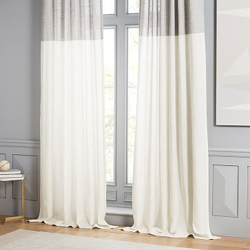 belgian linen contrast stripe curtain stone white slate 48 x108 west elm