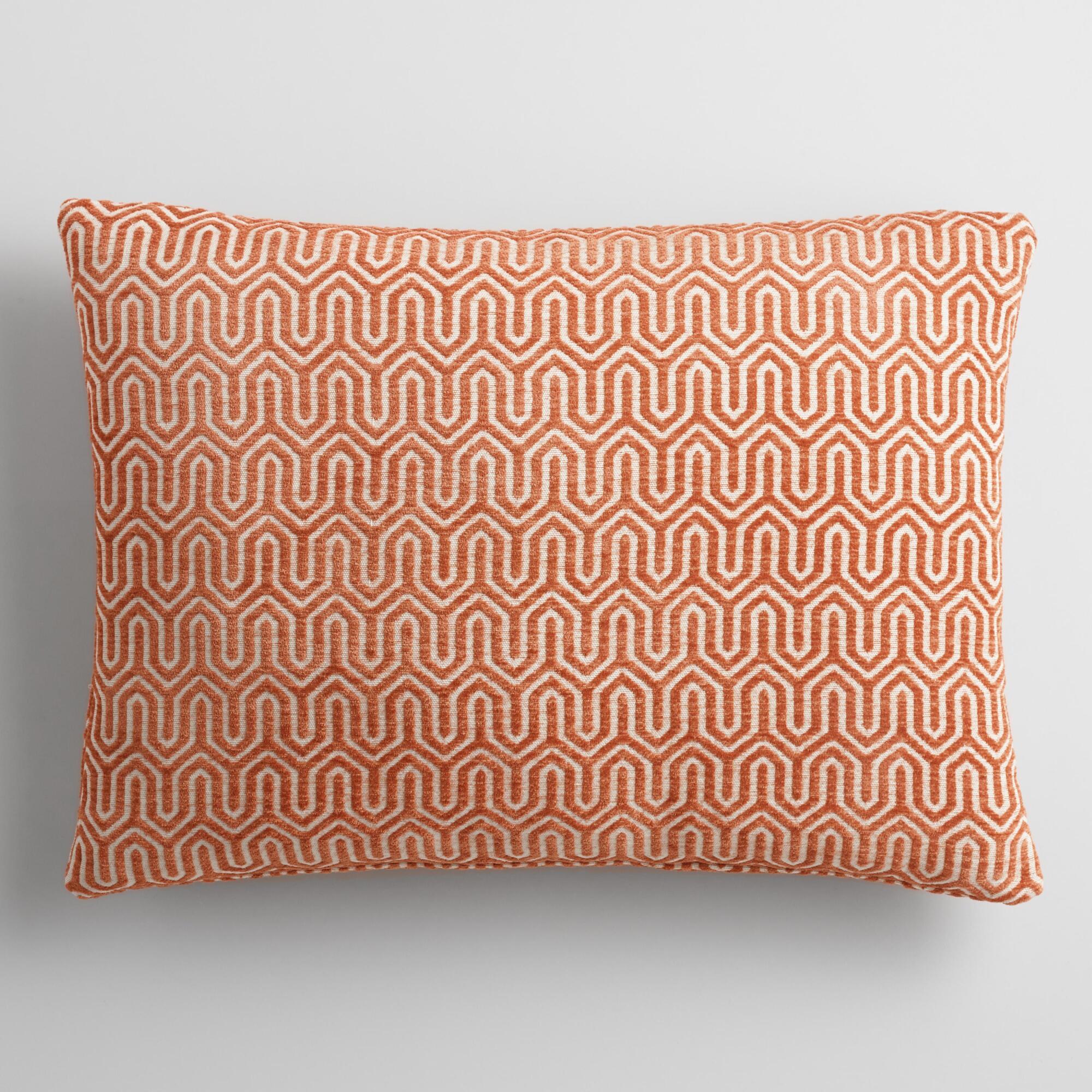 rust geo chenille lumbar pillow orange polyester by world market world market cost plus