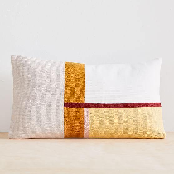 modernist color block pillow cover 12 x21 frost gray