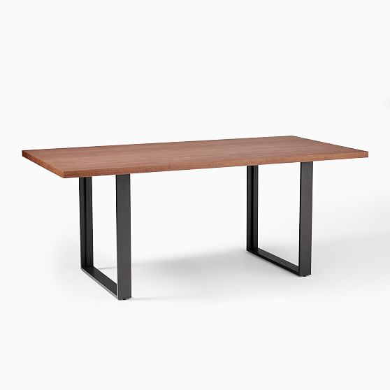 tompkins 74 industrial dining table cool walnut antique bronze