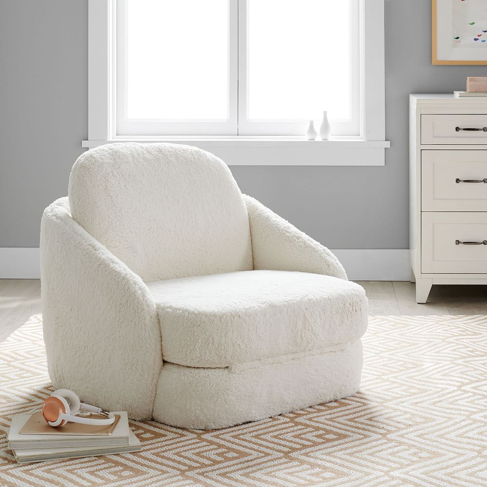 Shop wayfair for all the best teen lounge furniture & chairs. recycled sherpa nico convertible lounge chair ivory white pottery barn teen