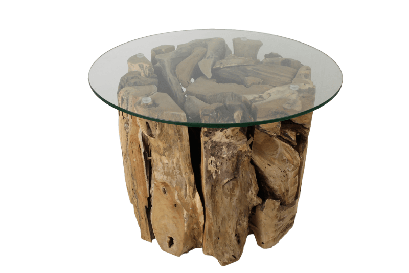 round glass coffee table teak root