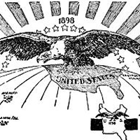 """""""Ten Thousand Miles From Tip to Tip."""" This political cartoon depicted the United States' growing territories in 1898."""