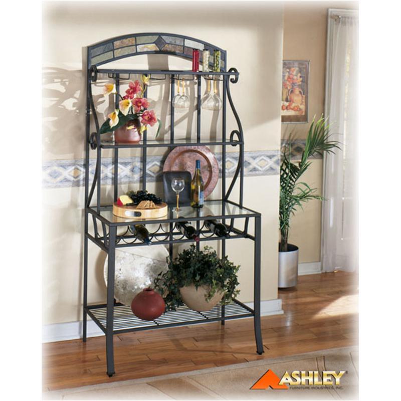 d253 76 ashley furniture danbury baker rack slate metal glass