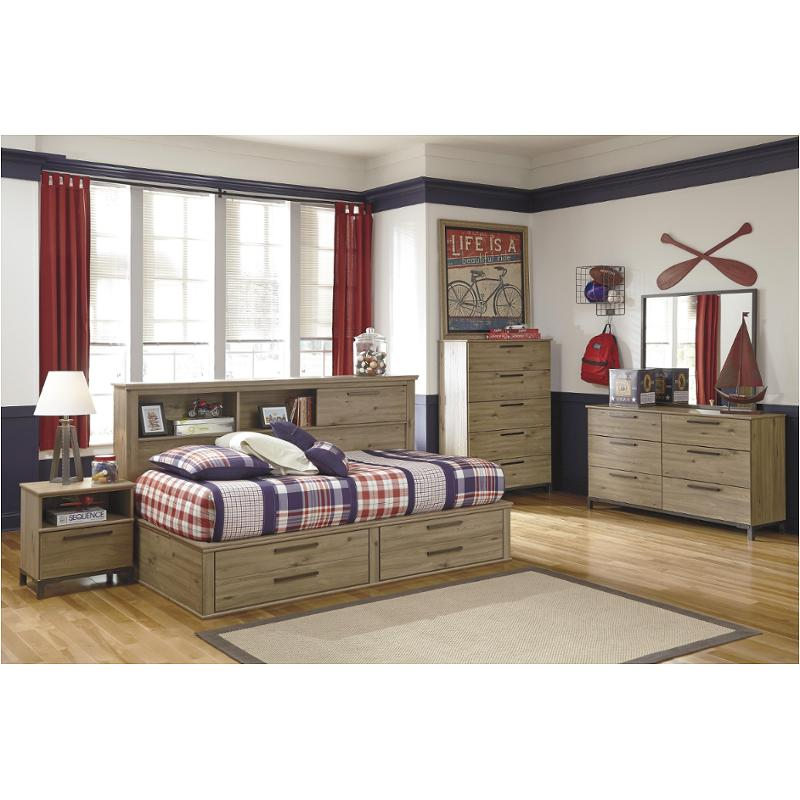 b298 85 ashley furniture dexifield beige brown twin bookcase daybed with storage fb