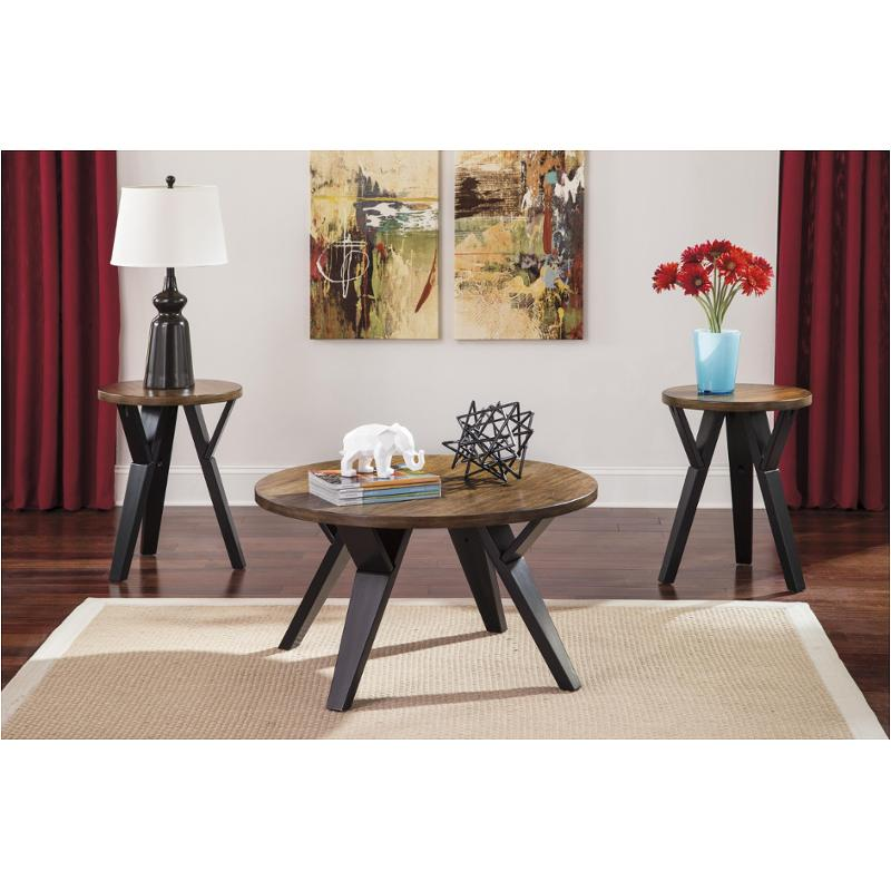t267 13 ashley furniture ingel two tone brown occasional table set
