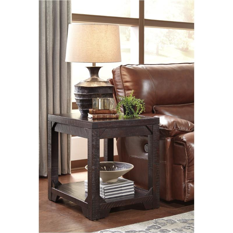 t745 3 ashley furniture rogness rustic brown rectangular end table