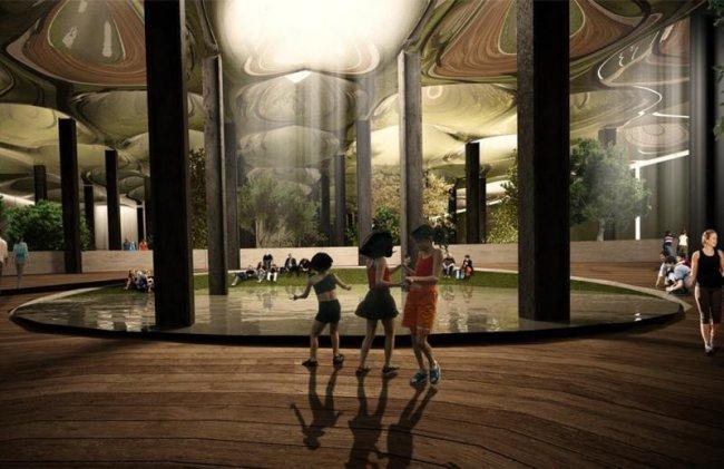 Recrearea virtuală a viitorul parc subteran Lowline, care va fi deschis în New York în 2021.