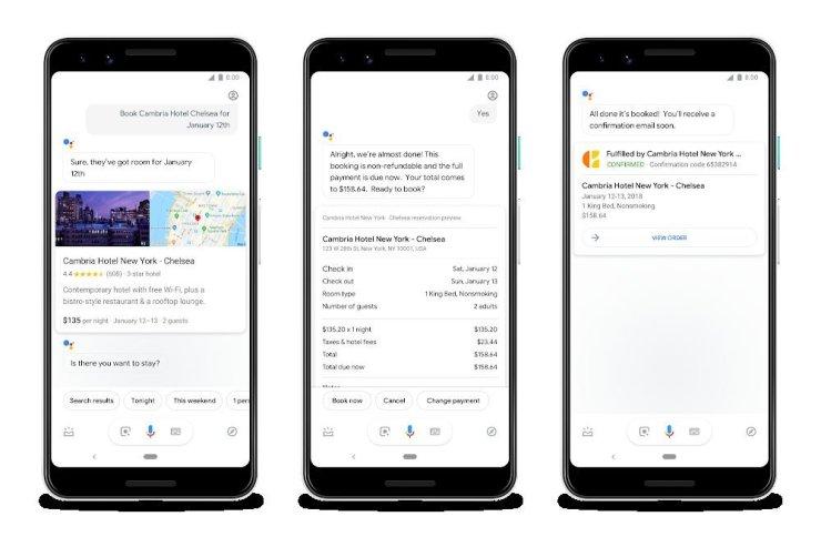 Imagine a procesului de rezervare a unei camere prin voce cu ajutorul lui Google Assistant, disponibil de momento doar în Statele Unite.