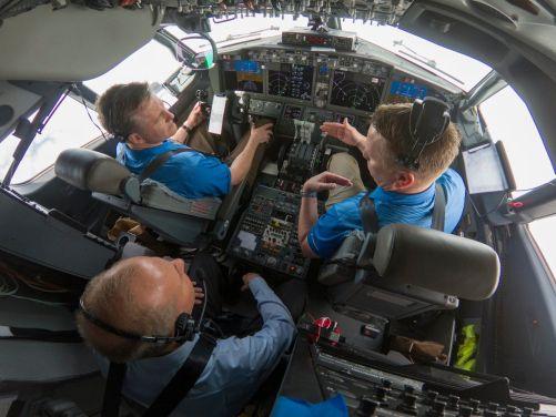 CEO-ul Boeing într-un zbor de probă miercurea trecută.
