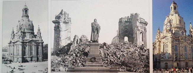 Biserica Frauenkirche din Dresden înainte de Al Doilea Război Mondial, în ruine în 1942, și după reconstruire (1994-2005).
