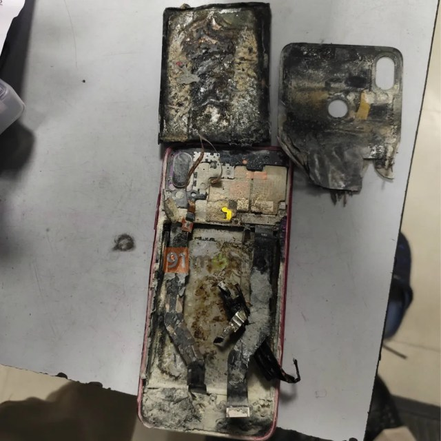 Redmi Note 7 Pro in mutilated condition after blast