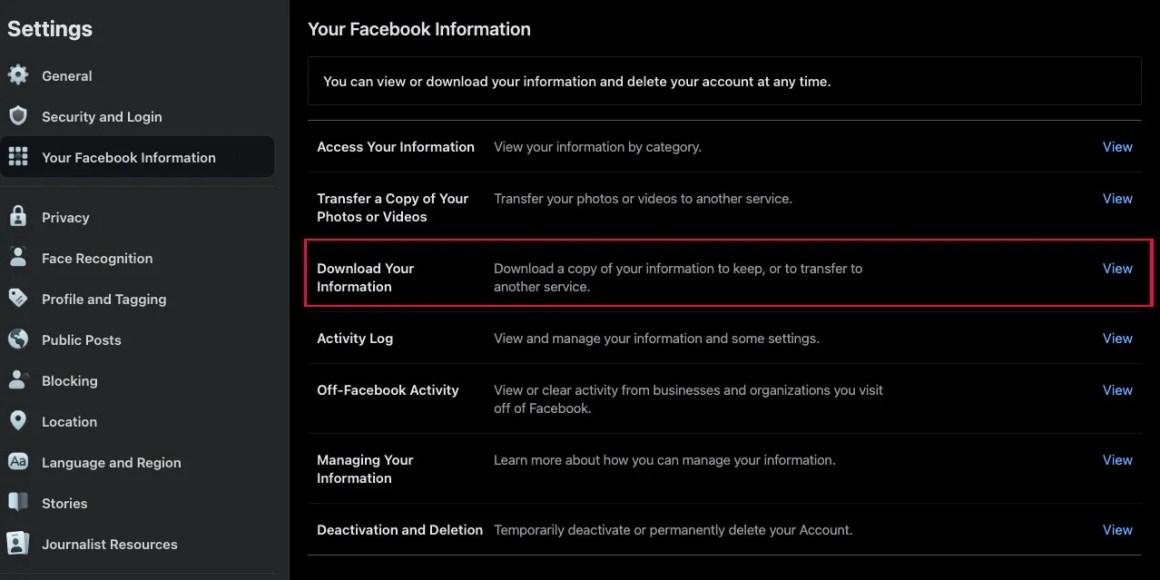 Backup_ delete facebook account