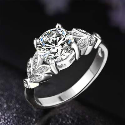 Crystal Silvery Engagement Ring