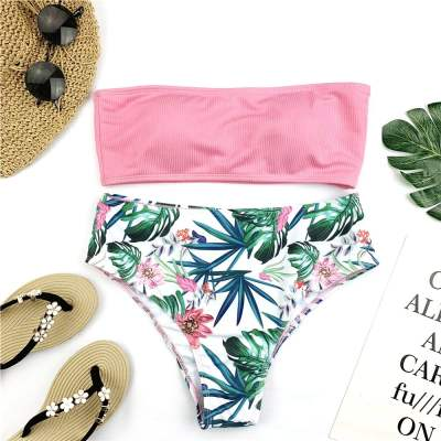 Bandeau Floral Print Push Up Swimsuit