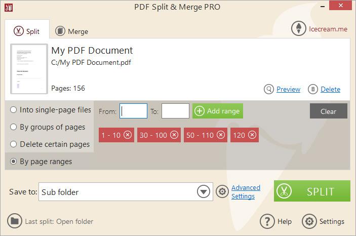 Split PDF mode