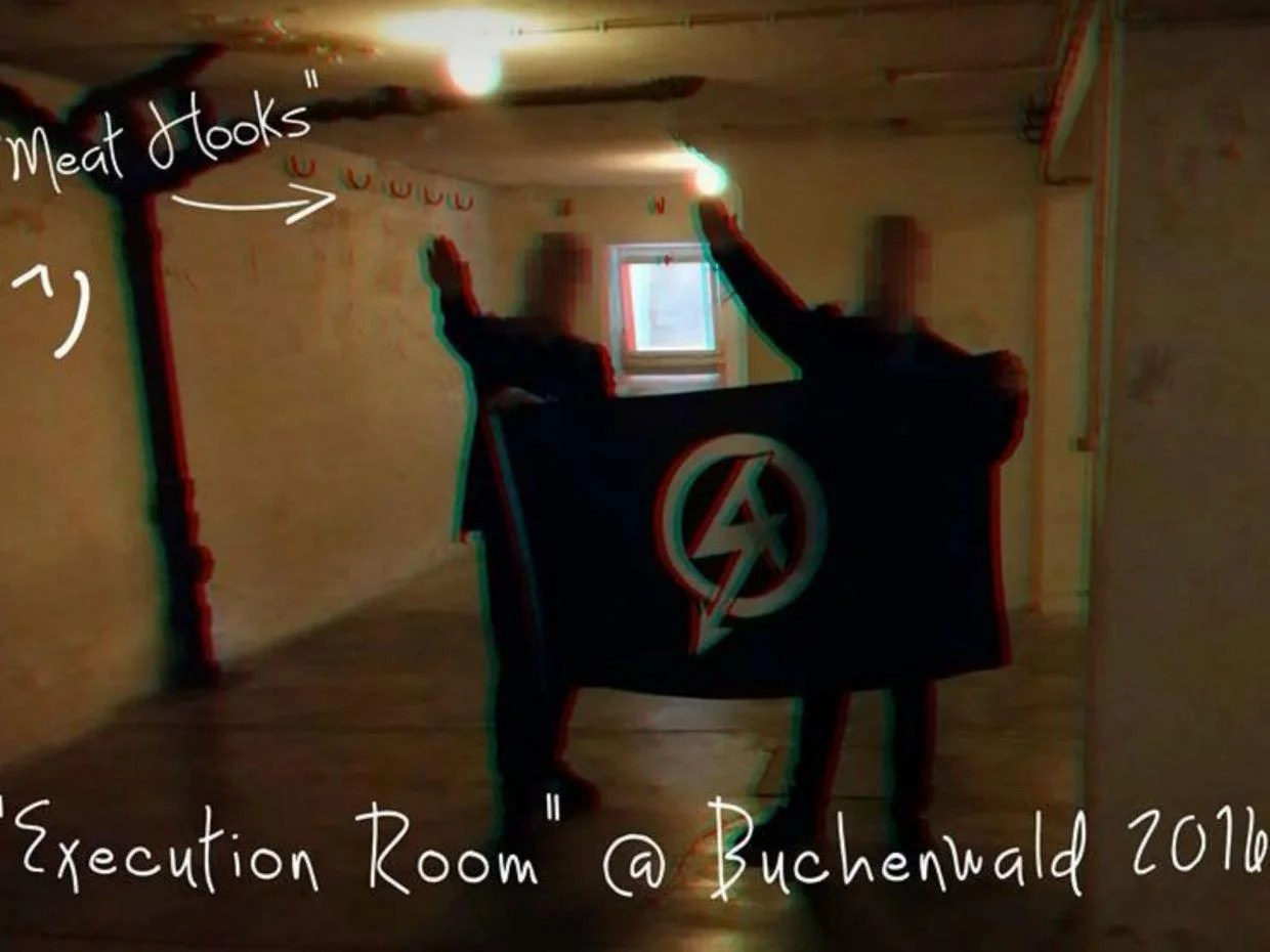 British National action nazis at Buchenwald
