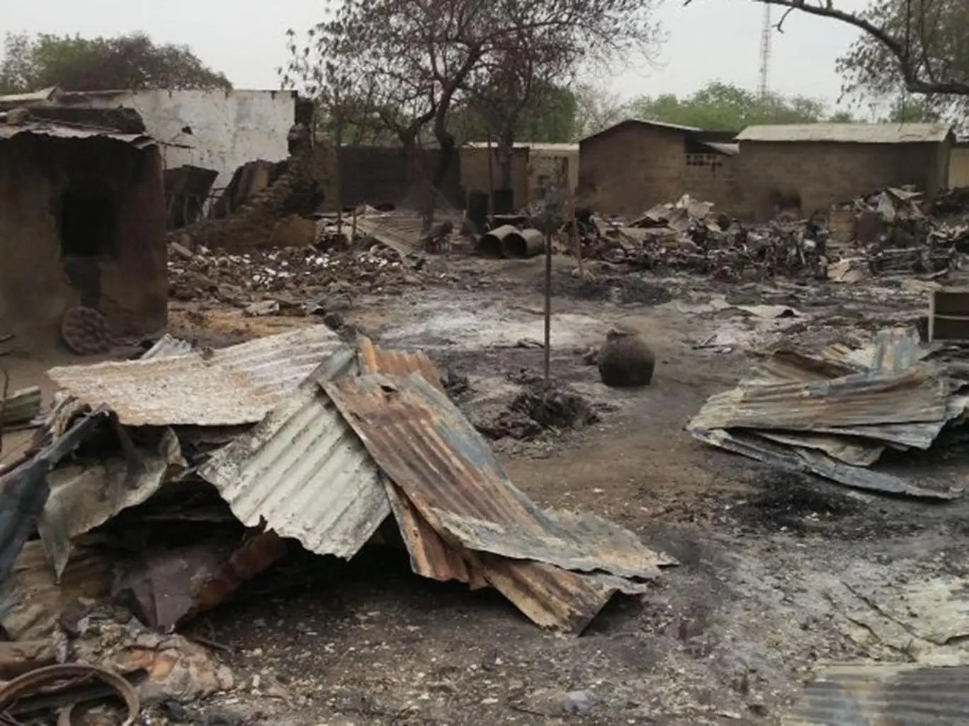 Baga after a previous Boko Haram raid. Much of the village has been destroyed in this month's attacks