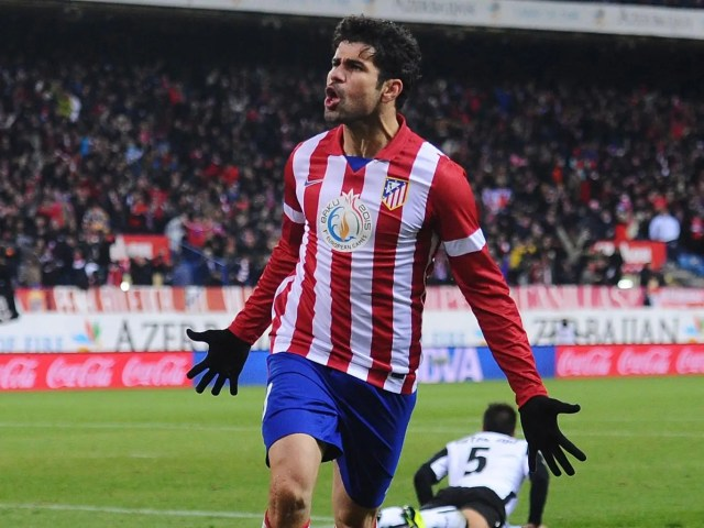 Diego Costa con l'Atletico Madrid nella Stagione 2012/13. Foto: Getty Images