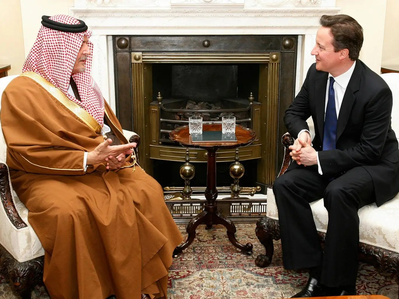 David Cameron meets with Saudi Arabia's Foreign Minister Prince Saud al-Faisal inside 10 Downing Street in London, on March 22, 2011. Photo: Akira Suemori - WPA Pool/Getty Images