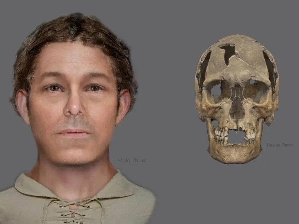 A reconstructed image of what the recently discovered man could have looked like (left) and a digital image of the skull, photo: City of Edinburgh Council