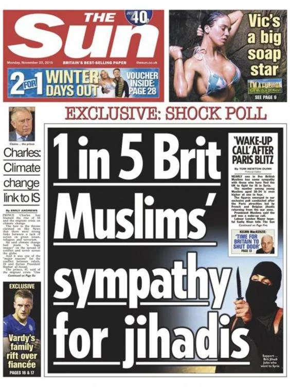 The Sun front page on British Muslims' 'sympathy for ...