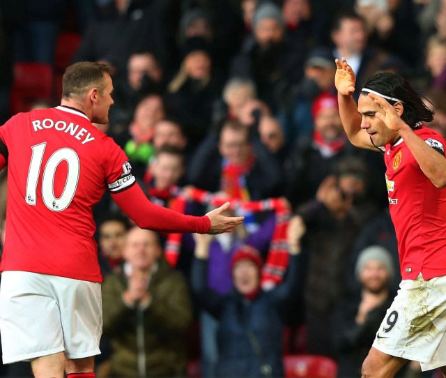 Wayne Rooney Celebrates With Radamel Falcao