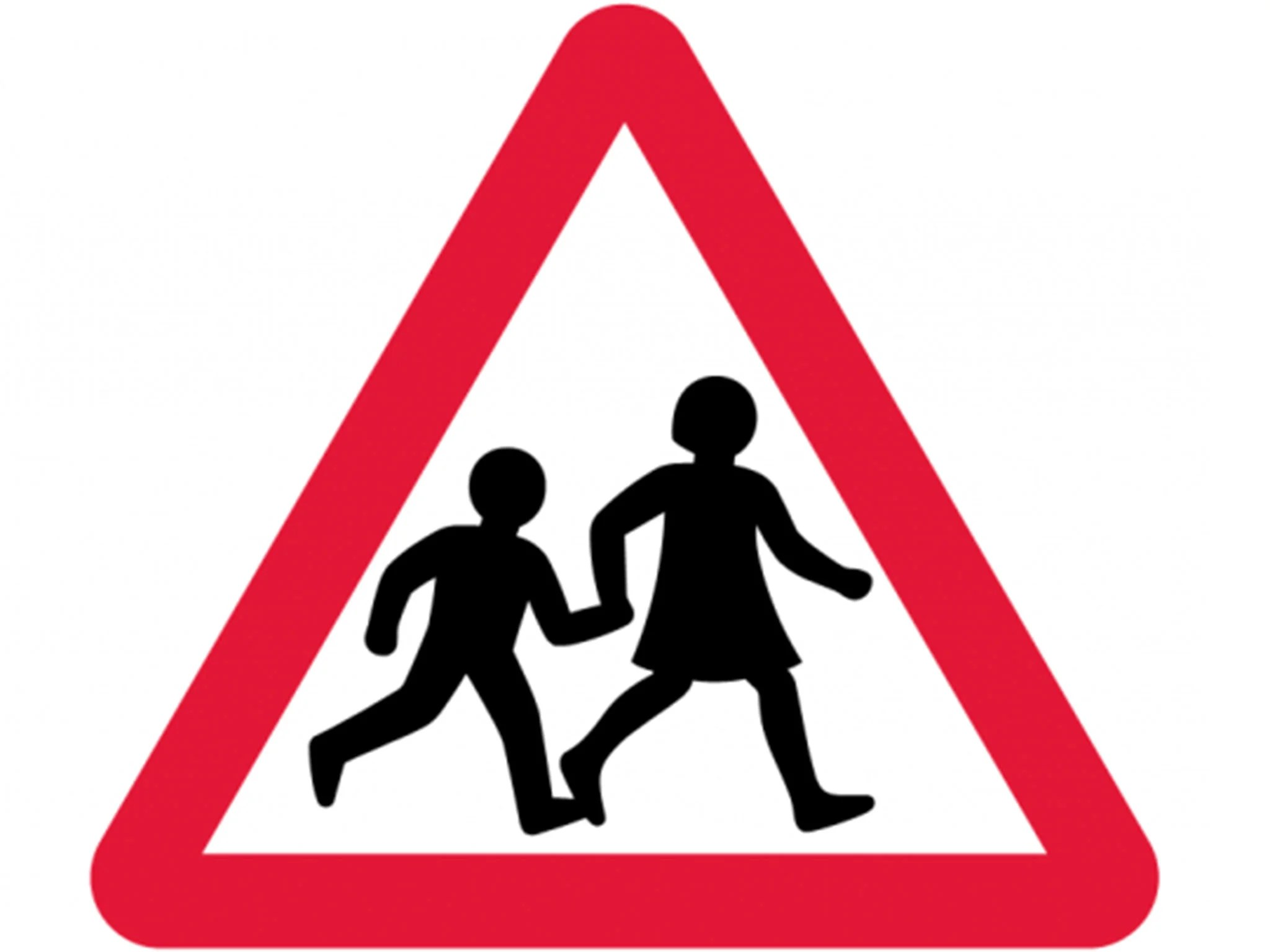 Iconic British Road Sign Of Two Schoolchildren Crossing