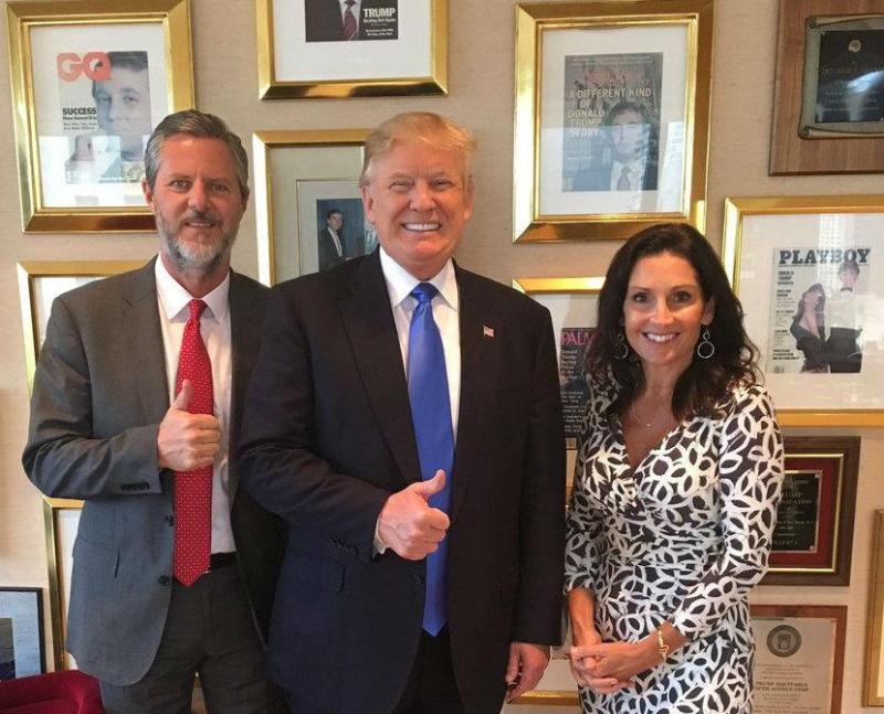Mr Falwell and his wife posed with Mr Trump after he met with religious leaders