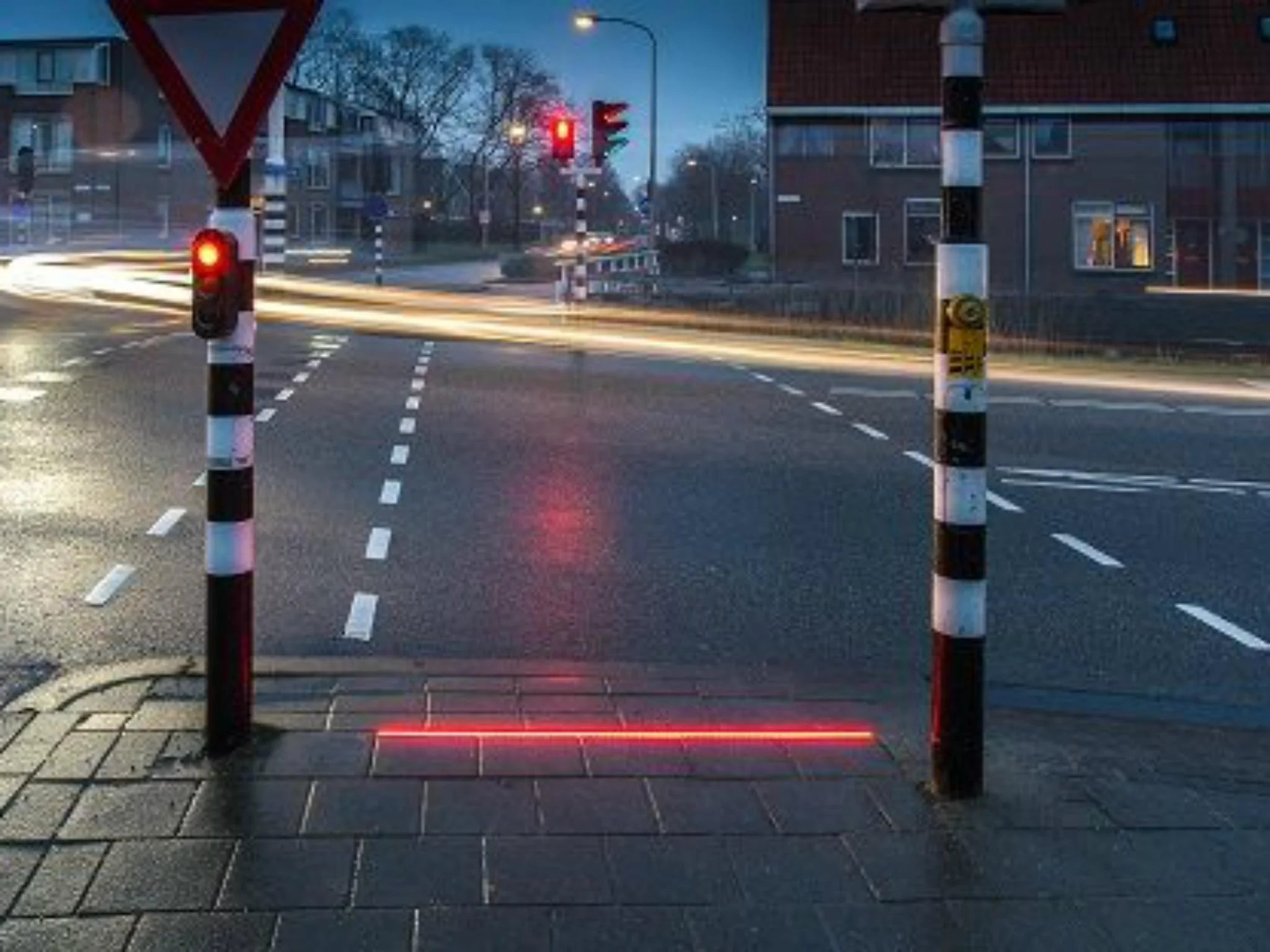 Traffic Lights Built Into Pavement For Smartphone Using