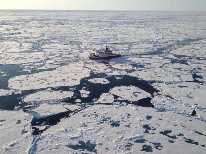 Scientists collected Arctic ice samples while on board the German research icebreaker Polarstern, seen here above the Lomonosov Ridge in the central Arctic Ocean