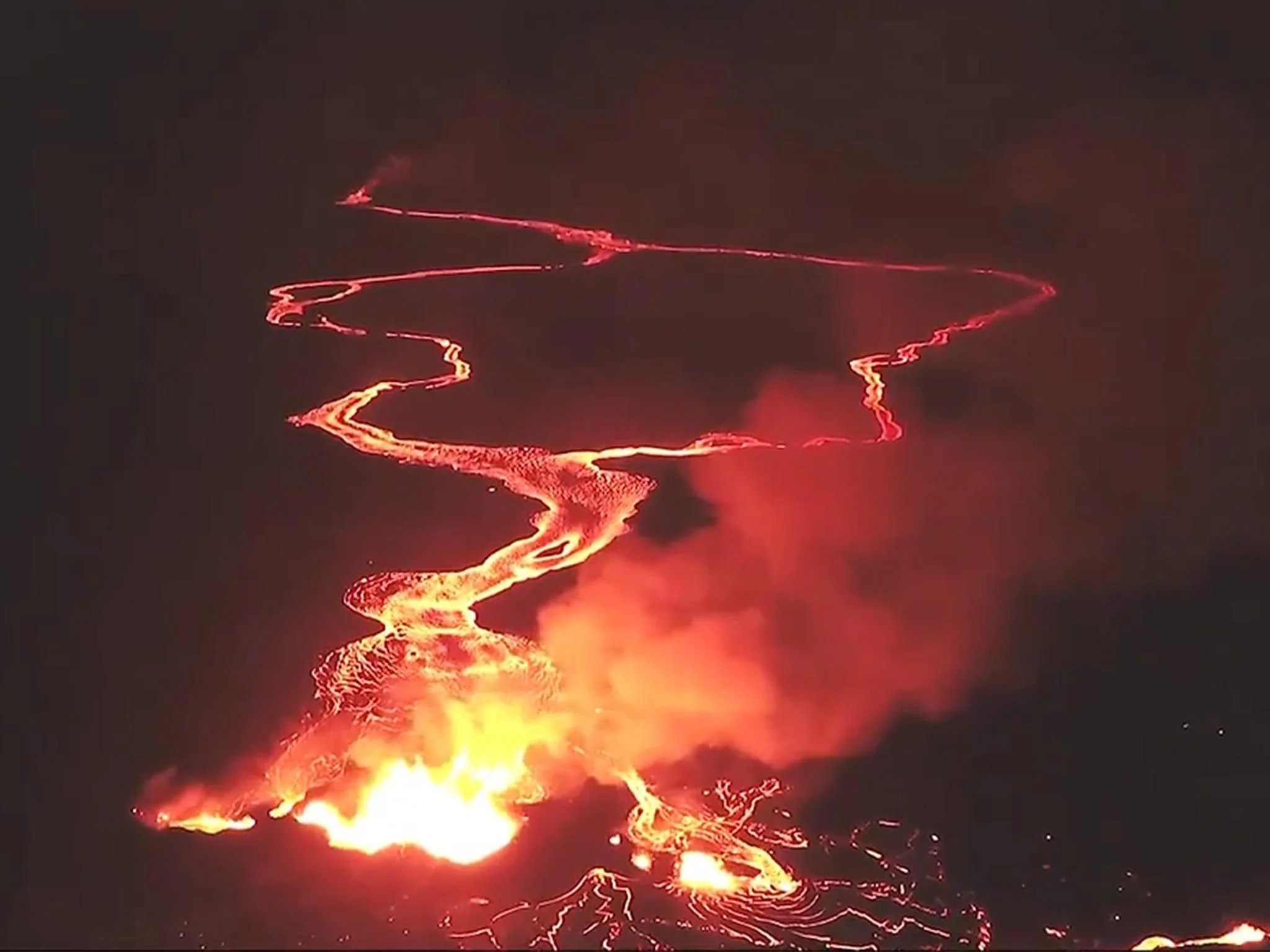 Hawaii Volcano Aerial Footage Shows Rivers Of Lava Flowing To The Ocean