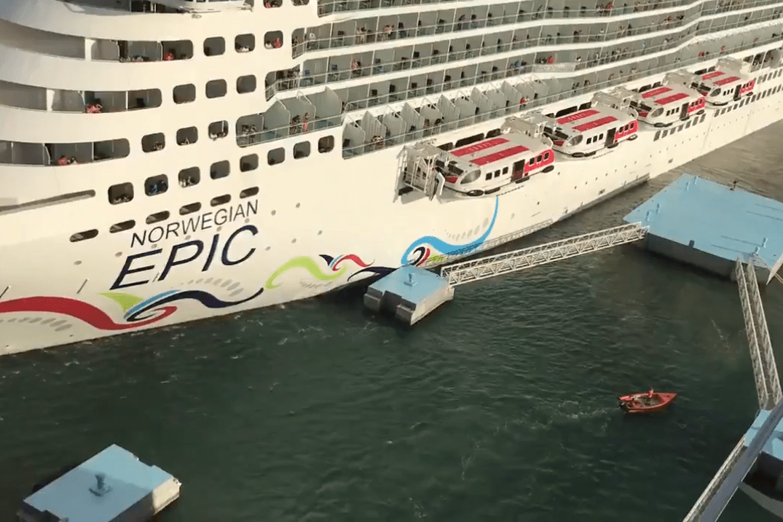 norwegian cruise ship crashes into