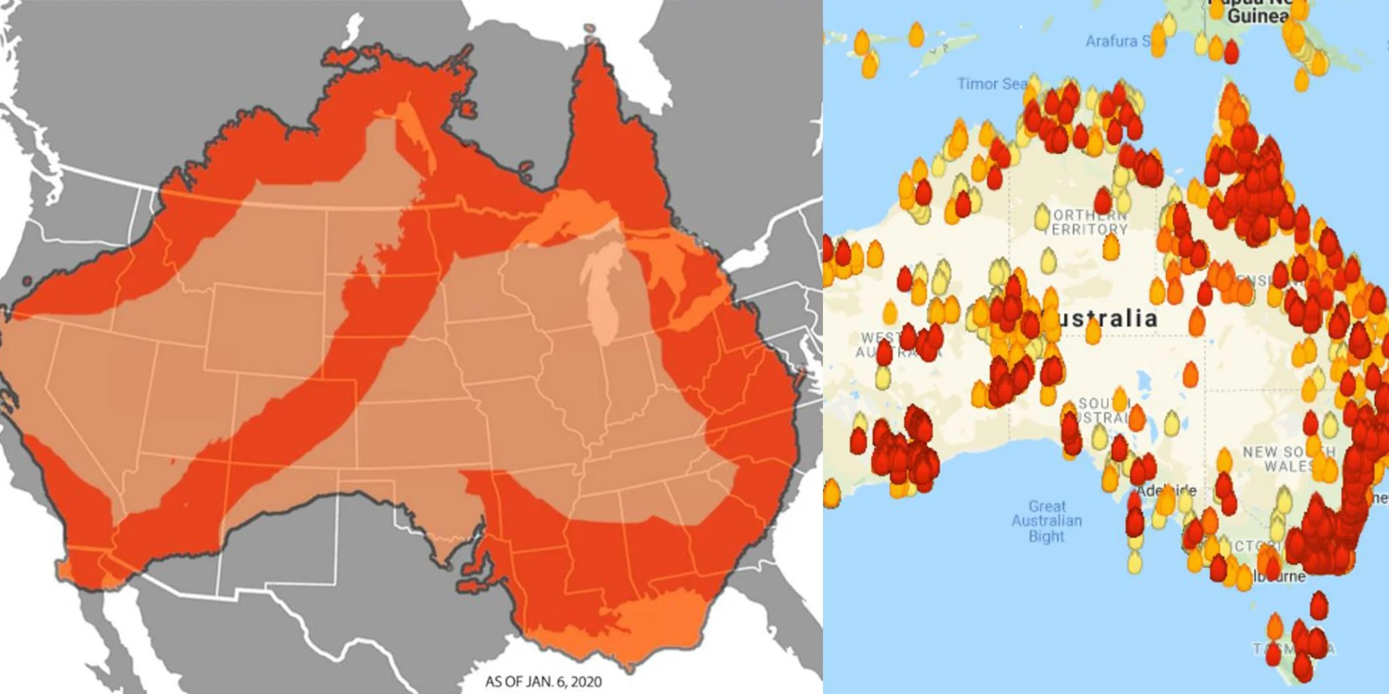 The data come from the visible infrared imaging radiometer suite (viirs) on the suomi npp satellite. Australia Wildfires Some Of The Maps Showing The Extent Of The Fires Are Totally Fake Indy100 Indy100