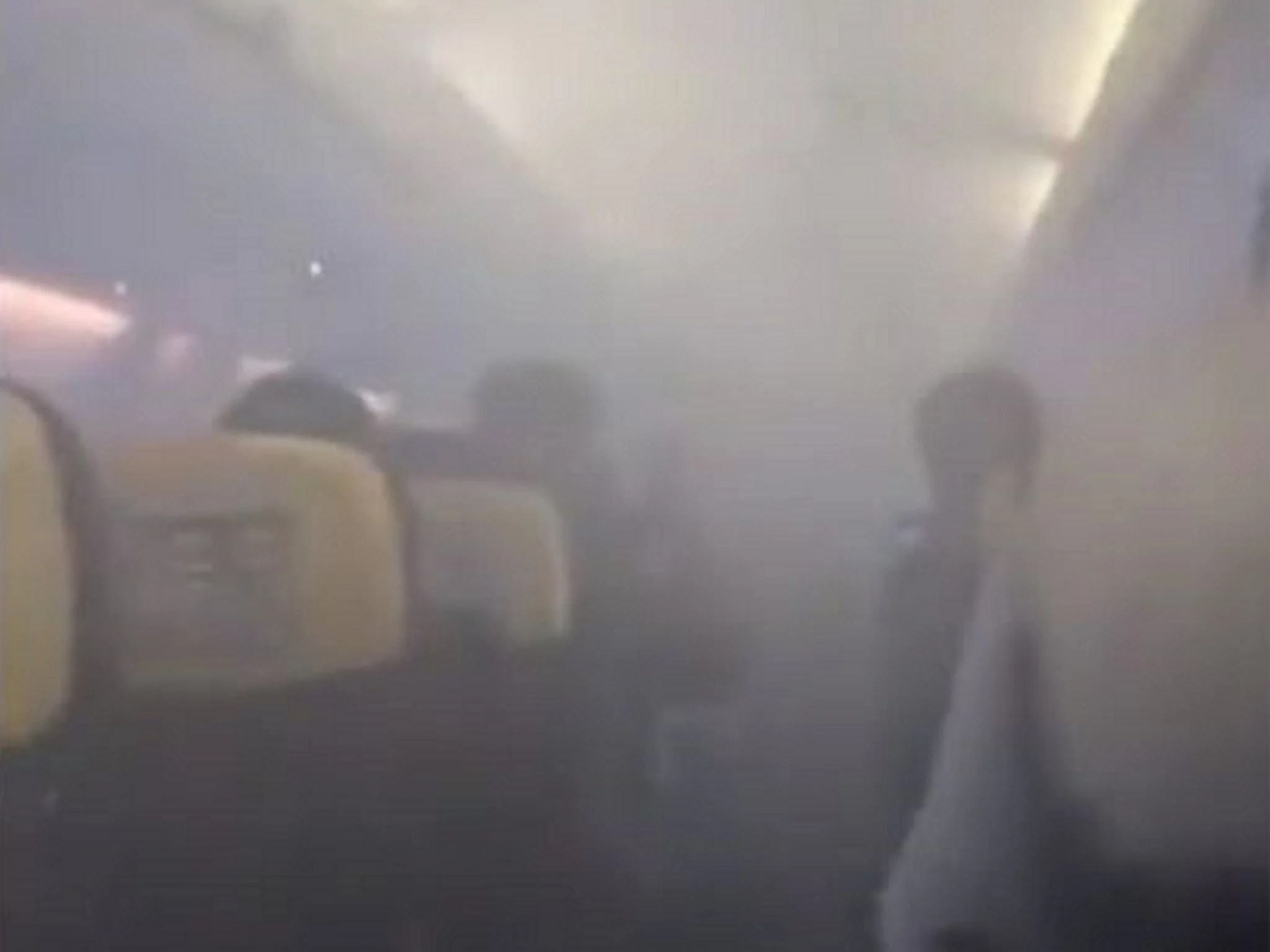 Passengers scream on Ryanair flight to Stansted as the cabin suddenly fills with smoke