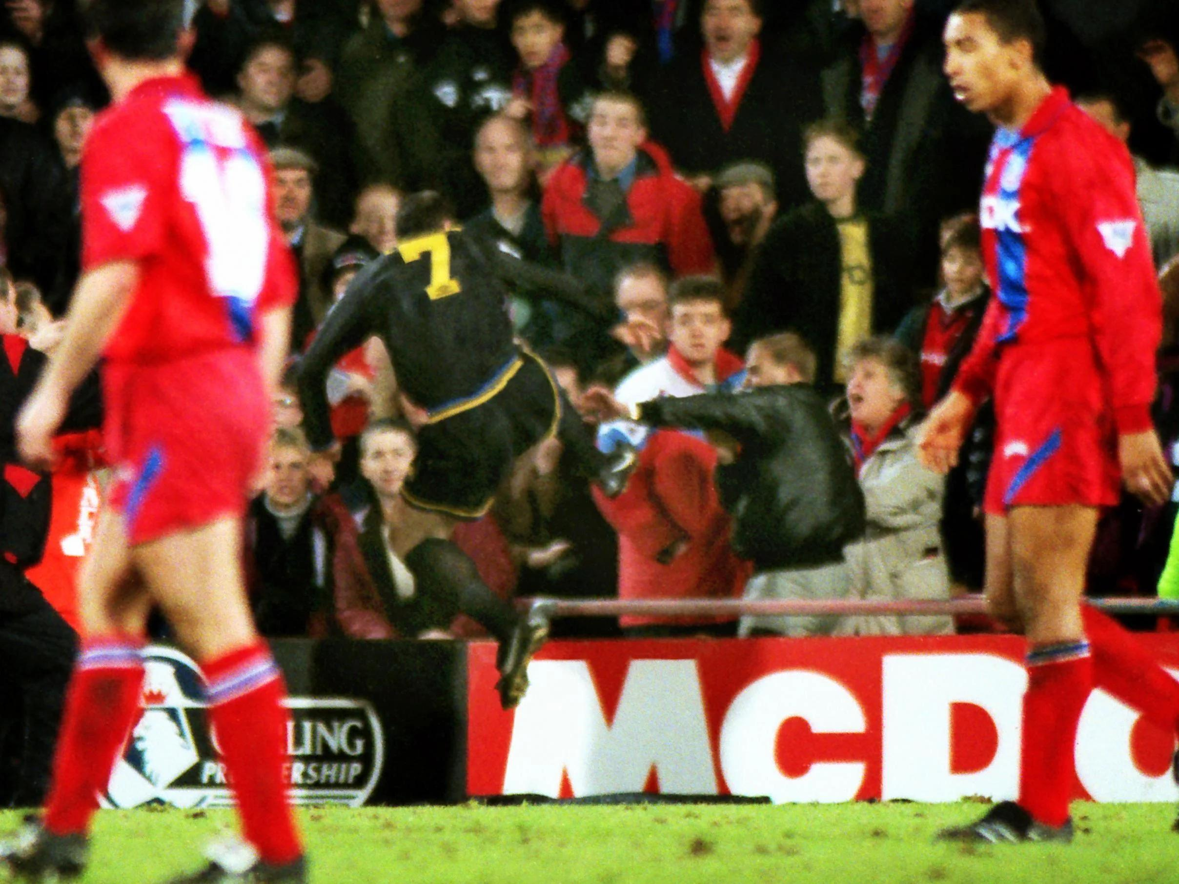 Flying kick from manchester united player eric cantona on a crystal palace fan,. Manchester United How Eric Cantona S Kung Fu Kick Changed Football Forever The Independent The Independent