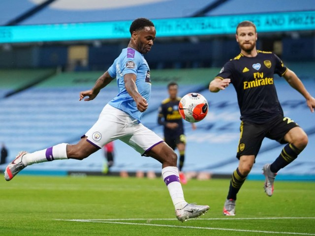 Sterling goal: Watch Manchester City forward score v Arsenal as Premier  League resumes | The Independent | The Independent